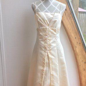 NWOT! Ivory with Beading Long Dress Crinolne/Lined